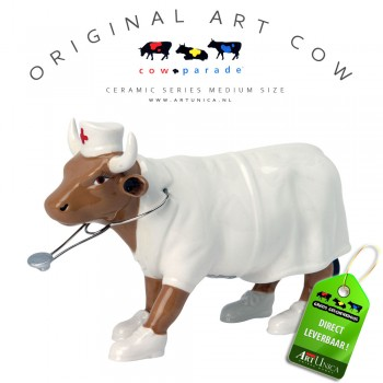Art Cow Koeienbeeldje keramiek Nurse Nightencow Unica