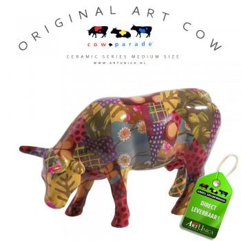 Koeienbeeldje Keramiek Art Cow Patchwork Suit Art Unica