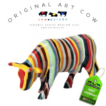 Art Cow Koeienbeeldje keramiek Striped Art Unica