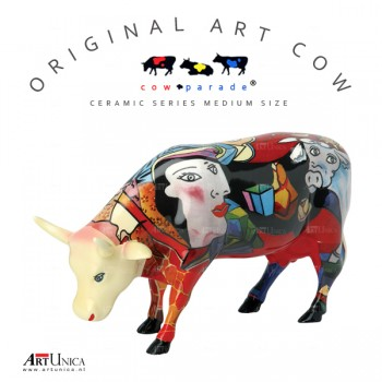 Koeienbeeldje Keramiek Art Cow Hommage to Picowso's African period Art Unica