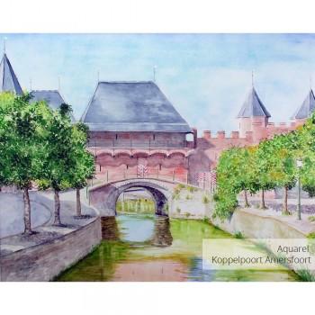 Schilderij Amersfoort Koppelpoort vanaf Grote Spui Amersfoort Art Unica Galerie voor Bereikbare Kunst Amersfoort