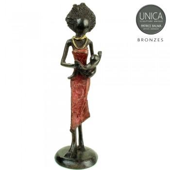 Moeder met kind beeldje brons Afrikaanse vrouw
