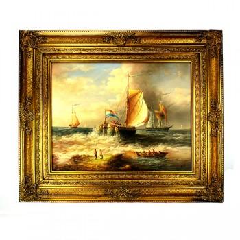 Romantisch schilderij boten op zee Art Unica