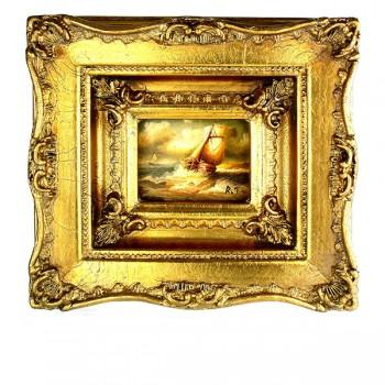 Romantisch schilderij schuit in woelige zee Art Unica