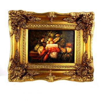 Romantisch schilderij stilleven met kreeft en vruchten Art Unica