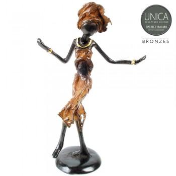 Burkina Faso Afrikaans beeldje brons