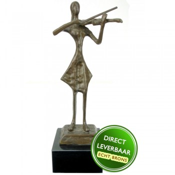 Violiste beeldje brons