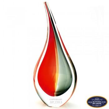 Glaskunst Abstract Vlam rood zwart 24cm