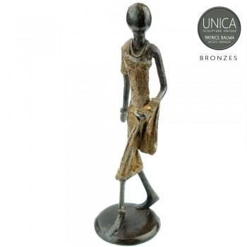Afrikaanse vrouw bronzen beeldje Unica