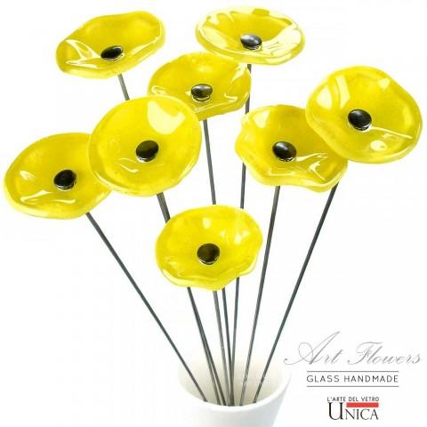 Glaskunst bloemen boeket geel