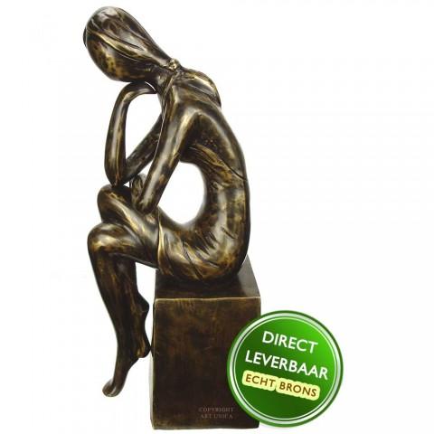Bronzen beeld vrouw titel Gedachten Eduard Martens