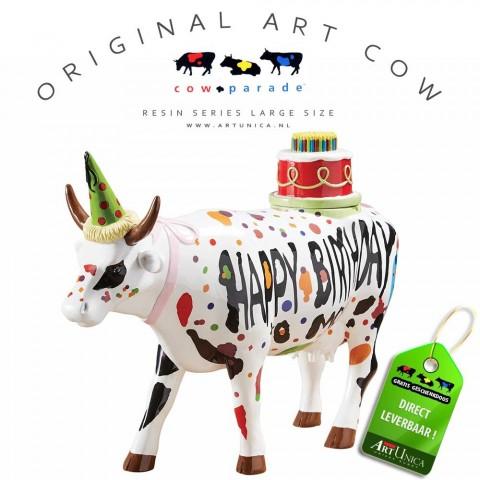 Happy Birthday Koebeeld beschilderd