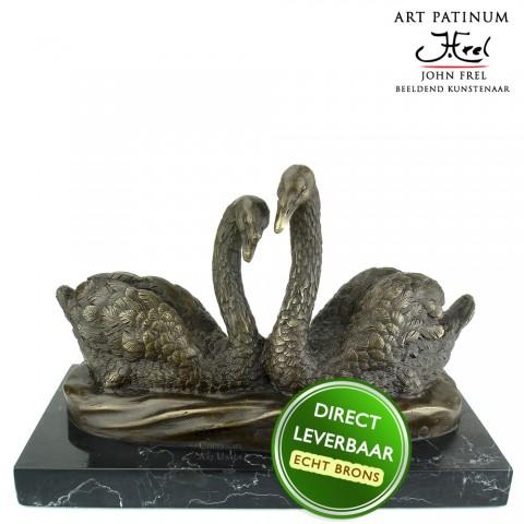 Bronzen beeld zwanen Art Unica