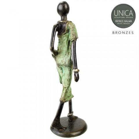 Afrikaans beeldje vrouw brons